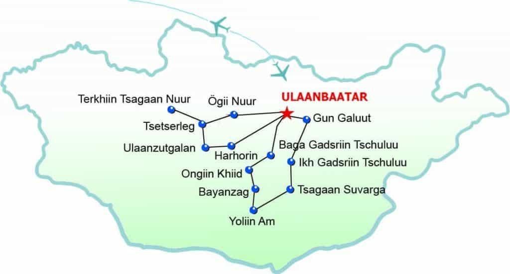 Route Jeep Safari and Naadam